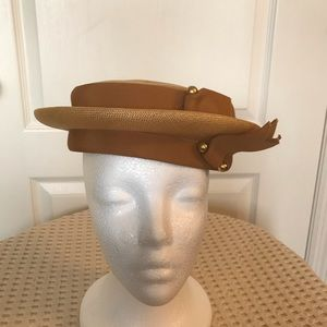 Brandt New York 1950's Gold Polished Straw Hat